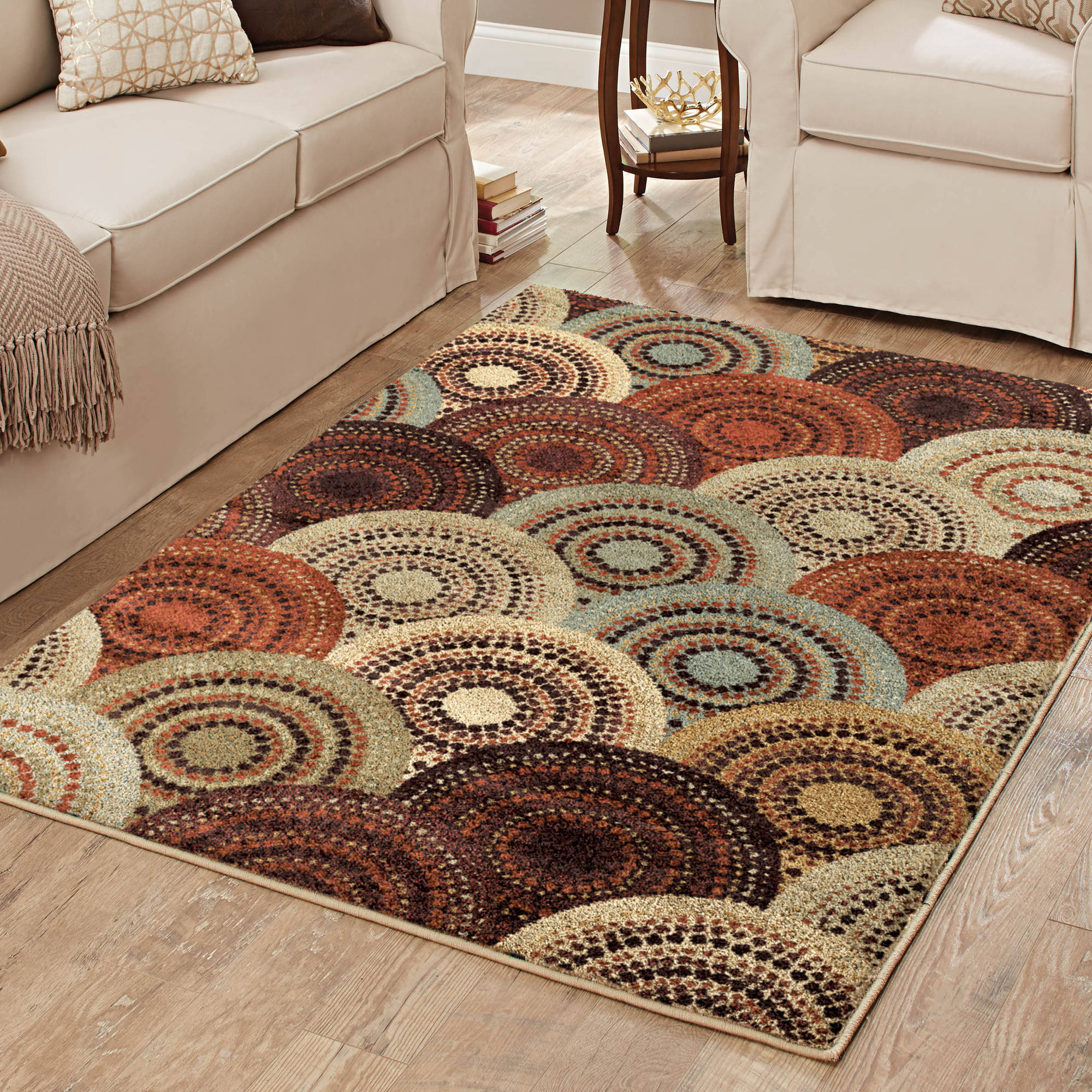 Better Homes and Gardens Spice Dotted Circles Multi-Colored Area Rug