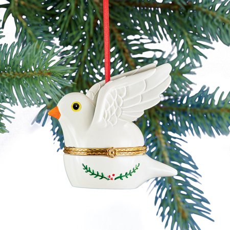Hand Painted Trinket Christmas Ornaments with Opening Compartment for Small Gifts, Dove - Dove Christmas Ornaments