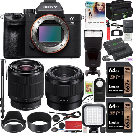 Sony a7III Full Frame Mirrorless Camera ILCE-7M3K/B with 2 Lens SEL2870 FE 28-70 mm F3.5-5.6 OSS and SEL50F18F FE 50mm F1.8 Set + Deco Gear Case 2x 64GB Memory Cards Extra Battery Kit Deluxe