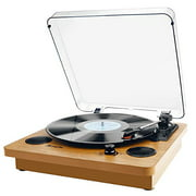 Record Player, Popsky 3-Speed Turntable Bluetooth Vinyl Record Player with Speaker, Portable LP Vinyl Player, Vinyl-to-MP3 Re
