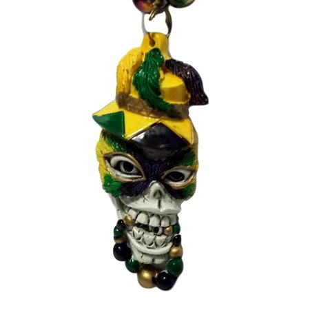 Skull Purple Green Gold Mardi Gras Beads Necklace Party - Mardi Gras Lights
