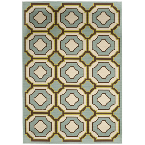 Contemporary Rug in Light Blue and Ivory (6 ft. L x 4 ft. W)