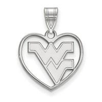 LogoArt Sterling Silver West Virginia University Pendant Necklace in Heart