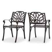 Fonzo Outdoor Cast Aluminum Dining Chairs, Set of 2, Bronze