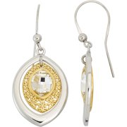 Centered Crystal 14kt Gold-Plated Sterling Silver Matte-Finished Marquise-Shape Flower Pattern White Polished Frame Drop Earrings