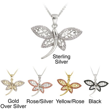 Silver Diamond Accent Filigree Dragonfly Necklace