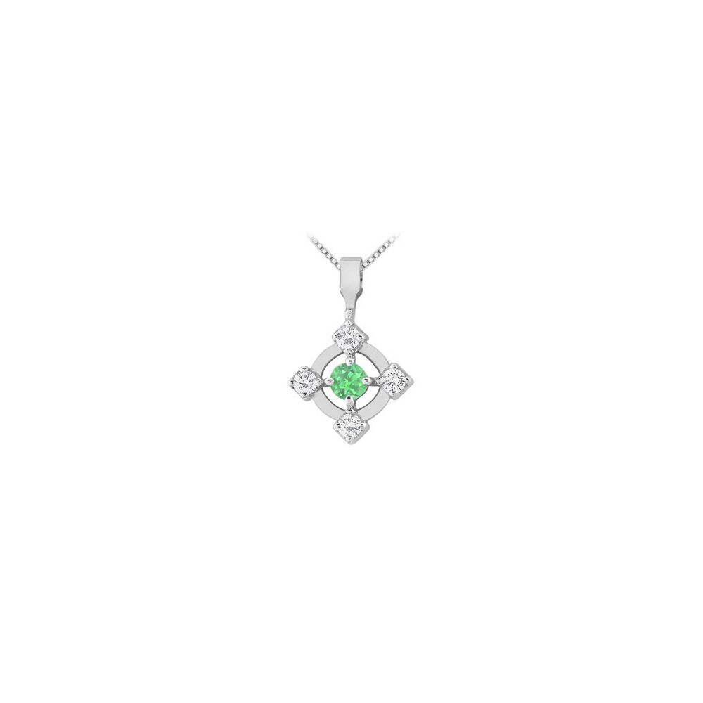 Created Emerald and Cubic Zirconia Pendant 14K White Gold 0.50 CT TGW - image 2 of 2