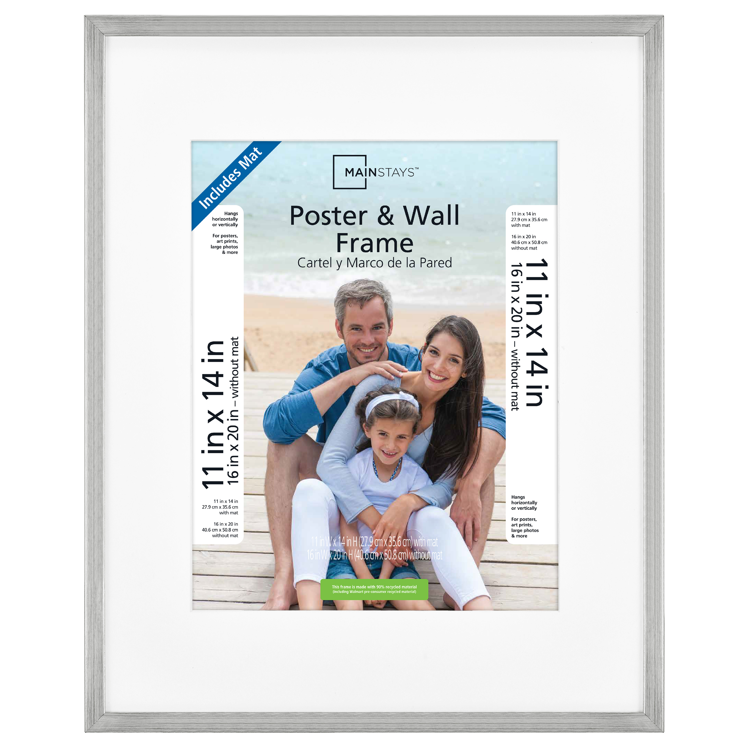 """Mainstays 16x20"""" Silver Metallic Poster and Picture Frame"""