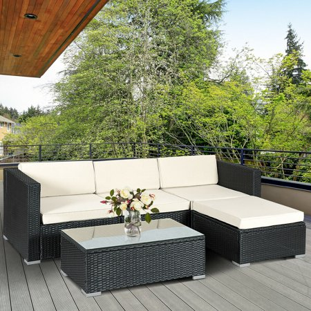 5PCS Rattan Wicker Table Shelf Garden Sofa Patio Furniture Set W/ Cushion Black - image 9 de 9
