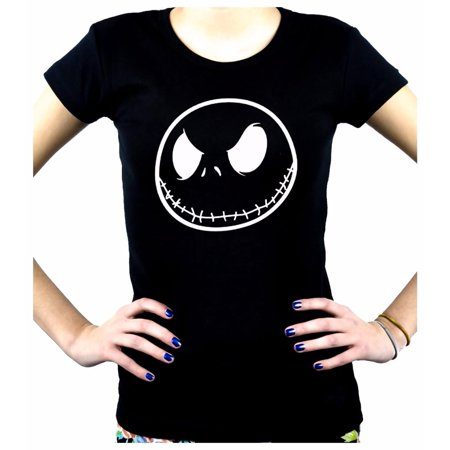 Negative Jack Skellington Face Women's Babydoll Shirt Top Nightmare Before Christmas - Nightmare Before Christmas Shirt