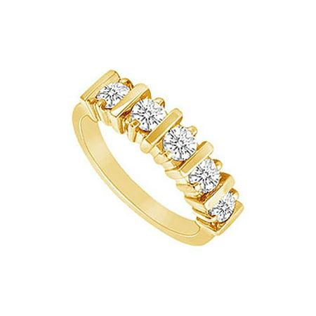 Cubic Zirconia Wedding Band 14K Yellow Gold 0.50 CT Cubic Zirconia - image 2 de 2