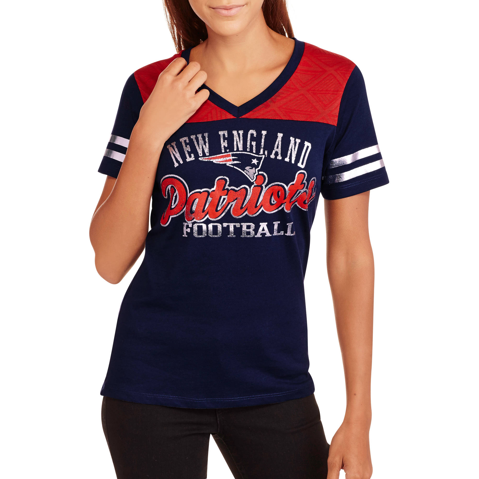 NFL Juniors Patriots  V Neck Short Sleeve Tee