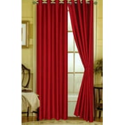 "1 PANEL Nancy  SOLID RED SEMI SHEER WINDOW FAUX SILK ANTIQUE BRONZE GROMMETS CURTAIN DRAPES 55 WIDE X 63"" LENGTH"