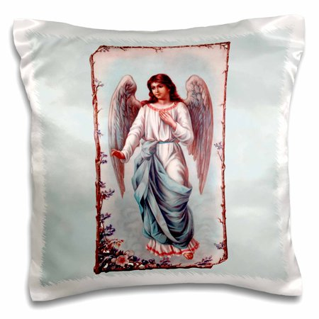 3dRose Pink and blue robed angel in a floral alter piece on a pale blue cloud-textured background , Pillow Case, 16 by 16-inch