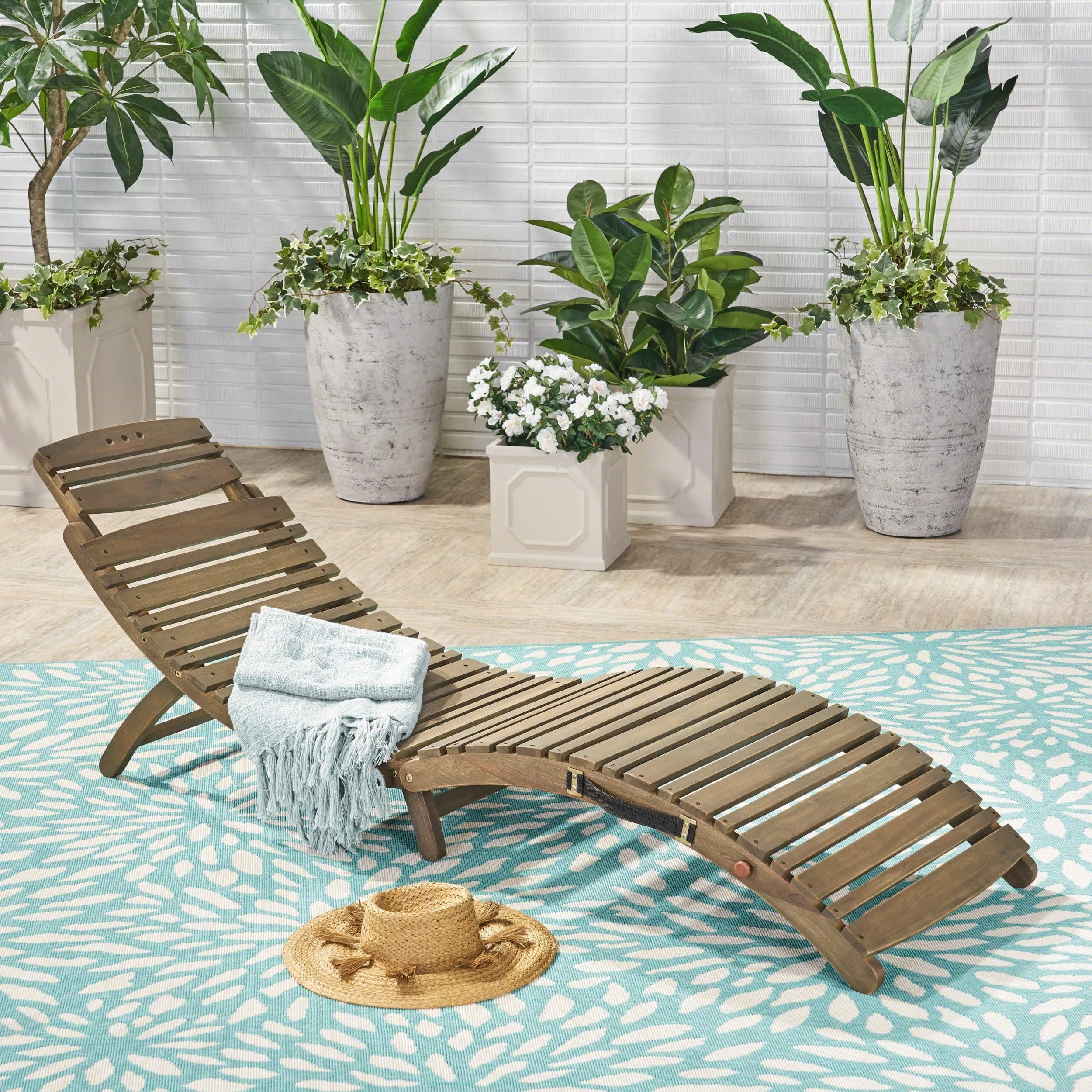 Christopher Knight Home Lahaina Outdoor Acacia Wood Chaise Lounge by  Grey Finish