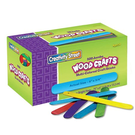 Jumbo Craft Sticks, Bright Hues, 500/Pack (Halloween Crafts Popsicle Sticks)