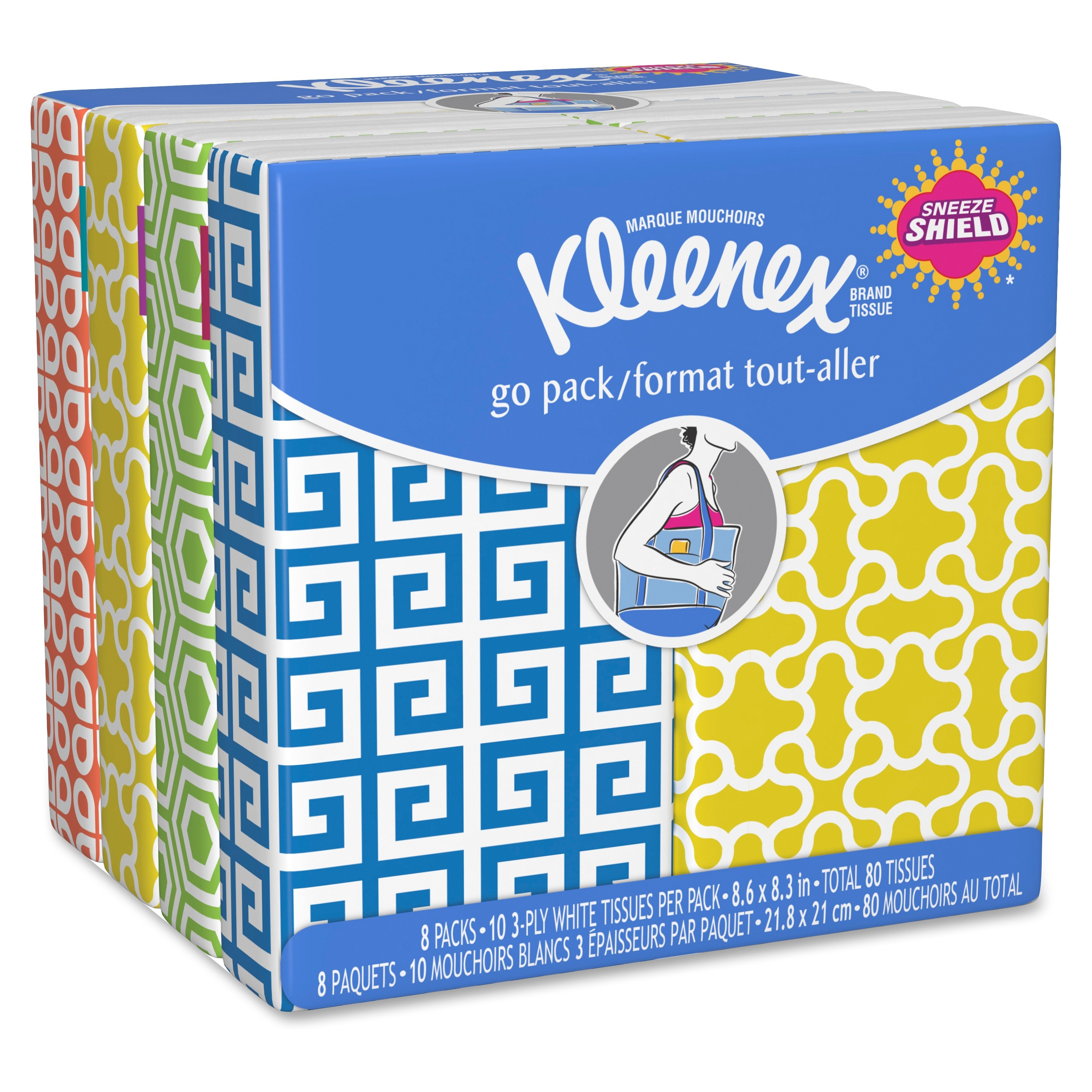"Kleenex Reclosable Pocket Tissue - 3 Ply - 8.60"" X 8.30"" - White - Soft, Absorbent - For Face - 192 / Carton (11974ct)"