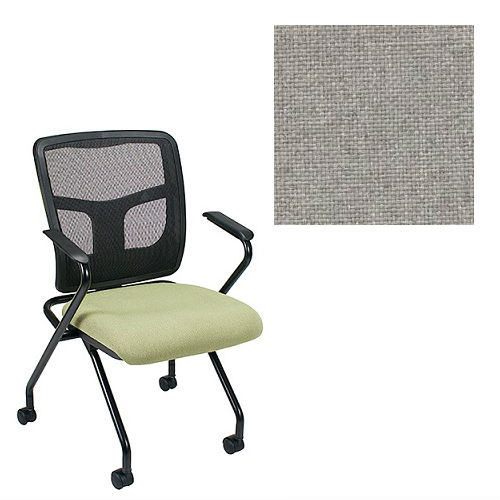 Office Master Yes Collection YS70N Ergonomic Nesting Chair - Fixed Standard Armrests - Black Mesh Back - Grade 1 Fabric - Basic Gray 1002 PLUS Free Ergonomics eBook
