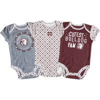 Girls Newborn & Infant Russell Athletic Maroon/White/Gray Mississippi State Bulldogs 3-Pack Team Bodysuit Set