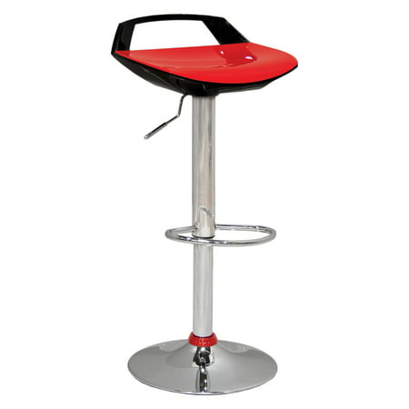 Best Master Furniture Low Rise Back Adjustable Height Bar Stool, Set of 2, Black/White or
