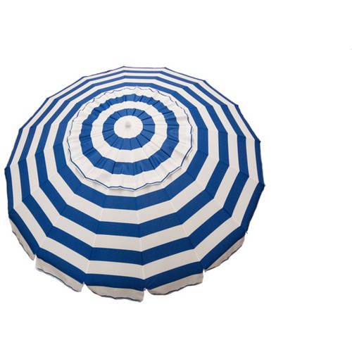 DestinationGear 8' Royal Blue and White Stripe Deluxe Beach and Patio Umbrella by Overstock