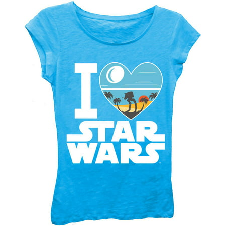 Girls' 'I Love Star Wars' Short Puff Sleeve Graphic T-Shirt With Crystalline Print