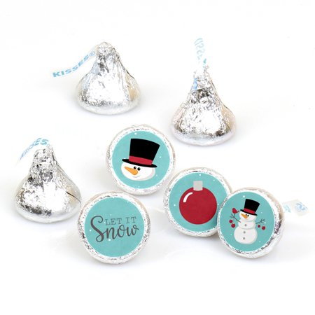 Let It Snow - Snowman - Holiday& Christmas Party Round Candy Sticker Favors - Labels Fit Hershey's Kisses - 108 - Snowman Favors
