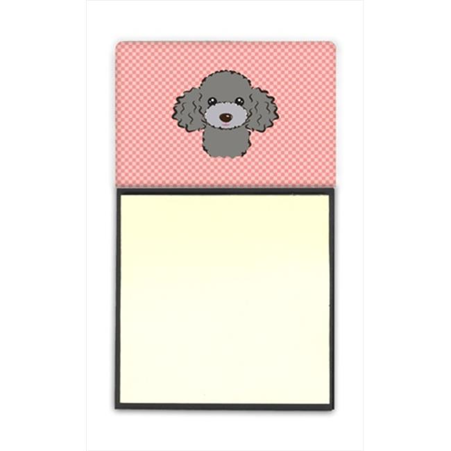Checkerboard Pink White Poodle Refiillable Sticky Note Holder Or Postit Note Dispenser, 3 x 3 In. - image 1 of 1