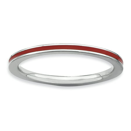Sterling Silver Stackable Expressions Red Enameled 1.5mm Ring Size 6 - image 3 of 3