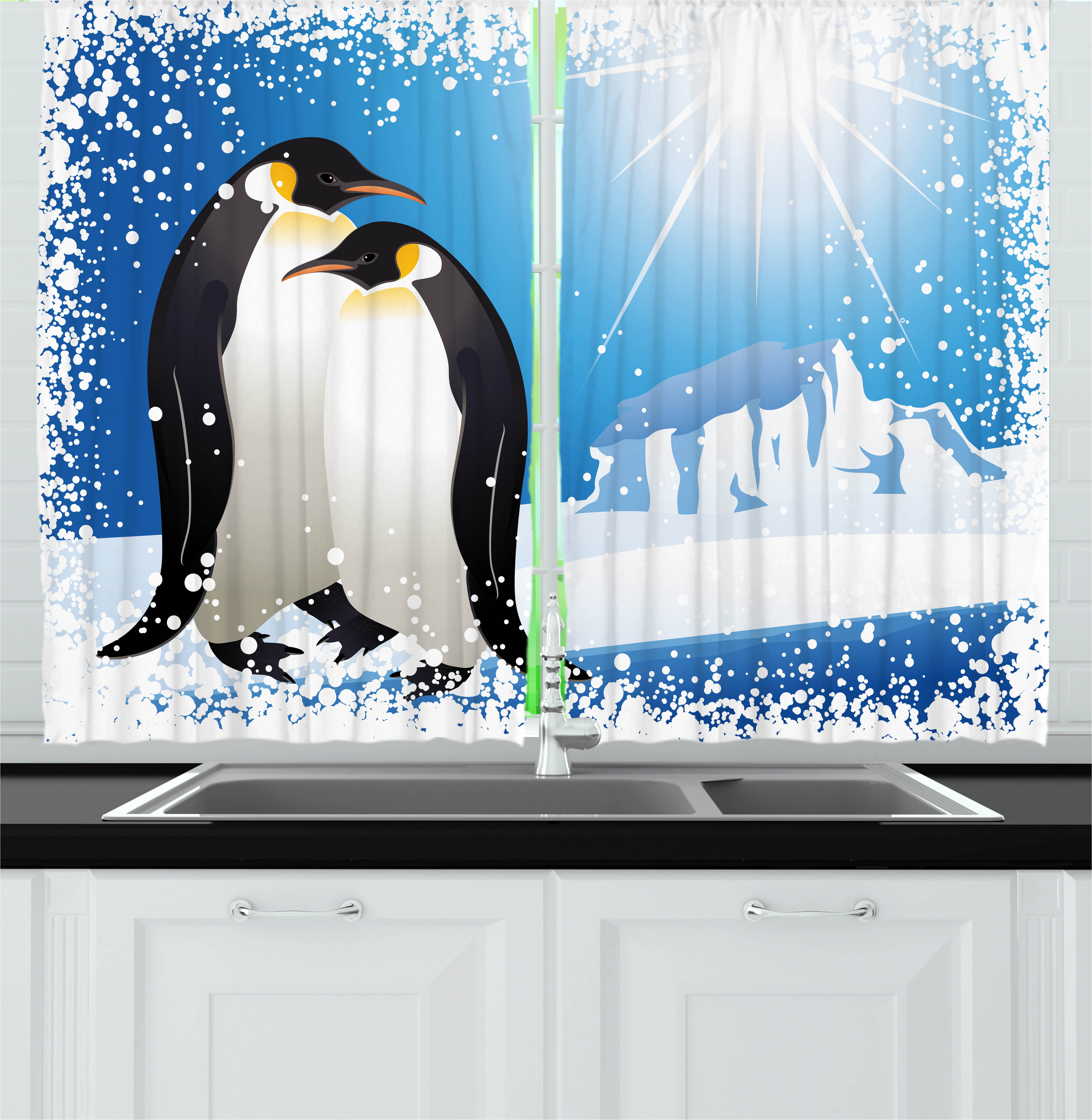 Winter Curtains 2 Panels Set, Cute Penguins on Iceland at Arctic Snowy Frozen Climate Kids Illustration, Window Drapes for Living Room Bedroom, 55W X 39L Inches, Sky Blue White Black, by Ambesonne