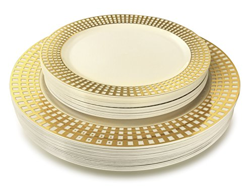 OCCASIONS   50 Piece Wedding Plastic Plates - Disposable Dinnerware for 25 guests - (  sc 1 st  Walmart & OCCASIONS