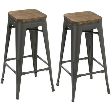 btexpert 24 inch industrial antique distressed gunmetal stackable dining metal bar stools. Black Bedroom Furniture Sets. Home Design Ideas