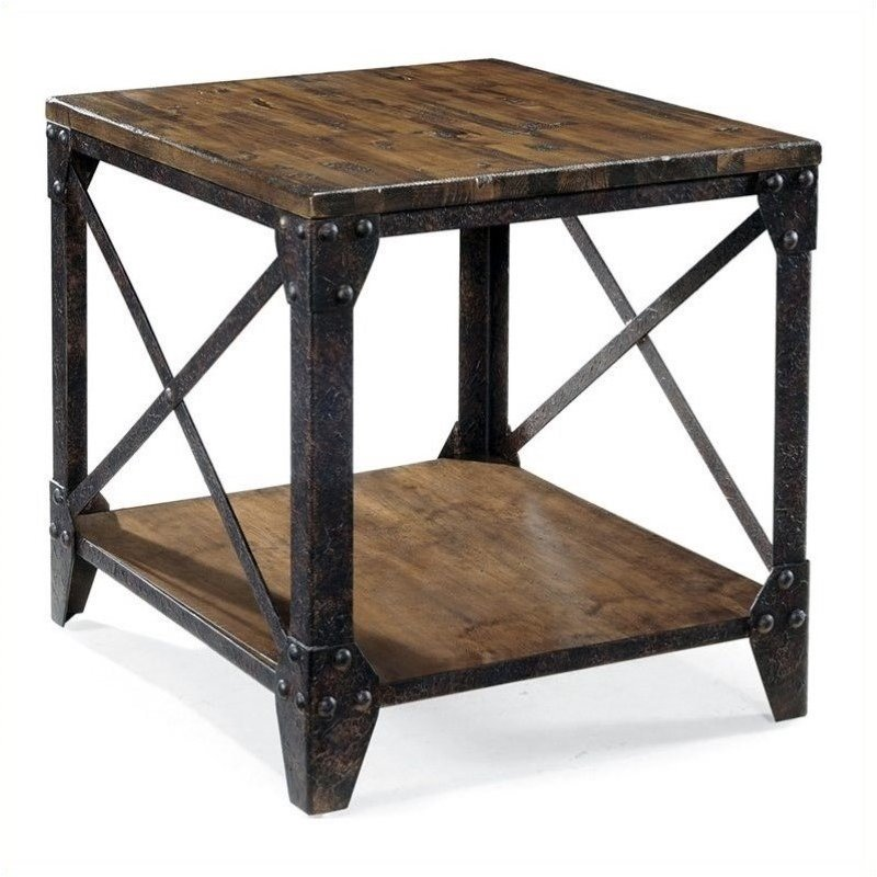 Beaumont Lane Square End Table in Distressed Pine
