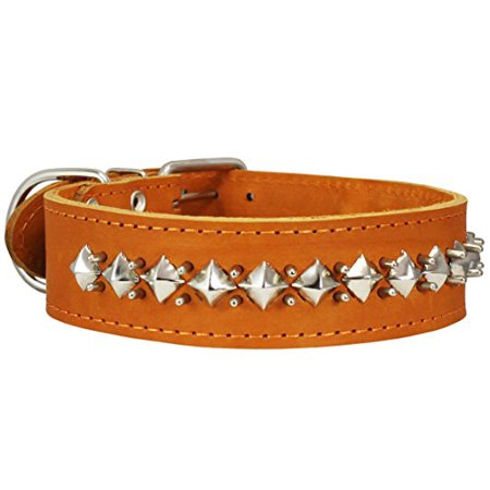 Thick Genuine Leather Spiked Studded Dog Collar Brown Sized to Fit 18
