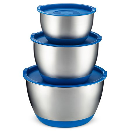 - Bezrat Stainless Steel Mixing Bowls With Lids [Set Of 6] | Quality Nesting Bowl Set With Non-Slip Silicone Bottom