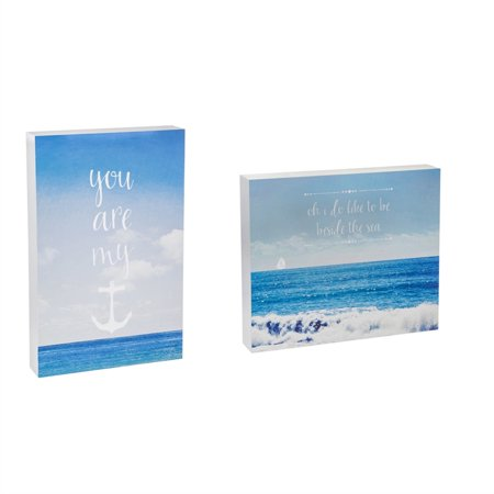- You Are My Anchor 9x14 and Like To Be Beside The Sea 12x10 Wood Plocks, Set of 2