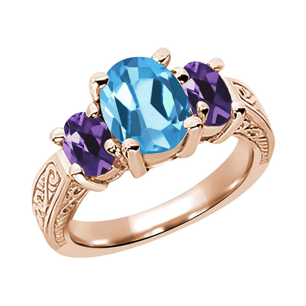 3.10 Ct Swiss Blue Topaz and Amethyst 925 Rose Gold Plated Silver 3-Stone Ring
