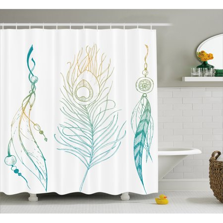 Pea Shower Curtain Aesthetic First Nations Feather And Tail Traditional Design Print Fabric