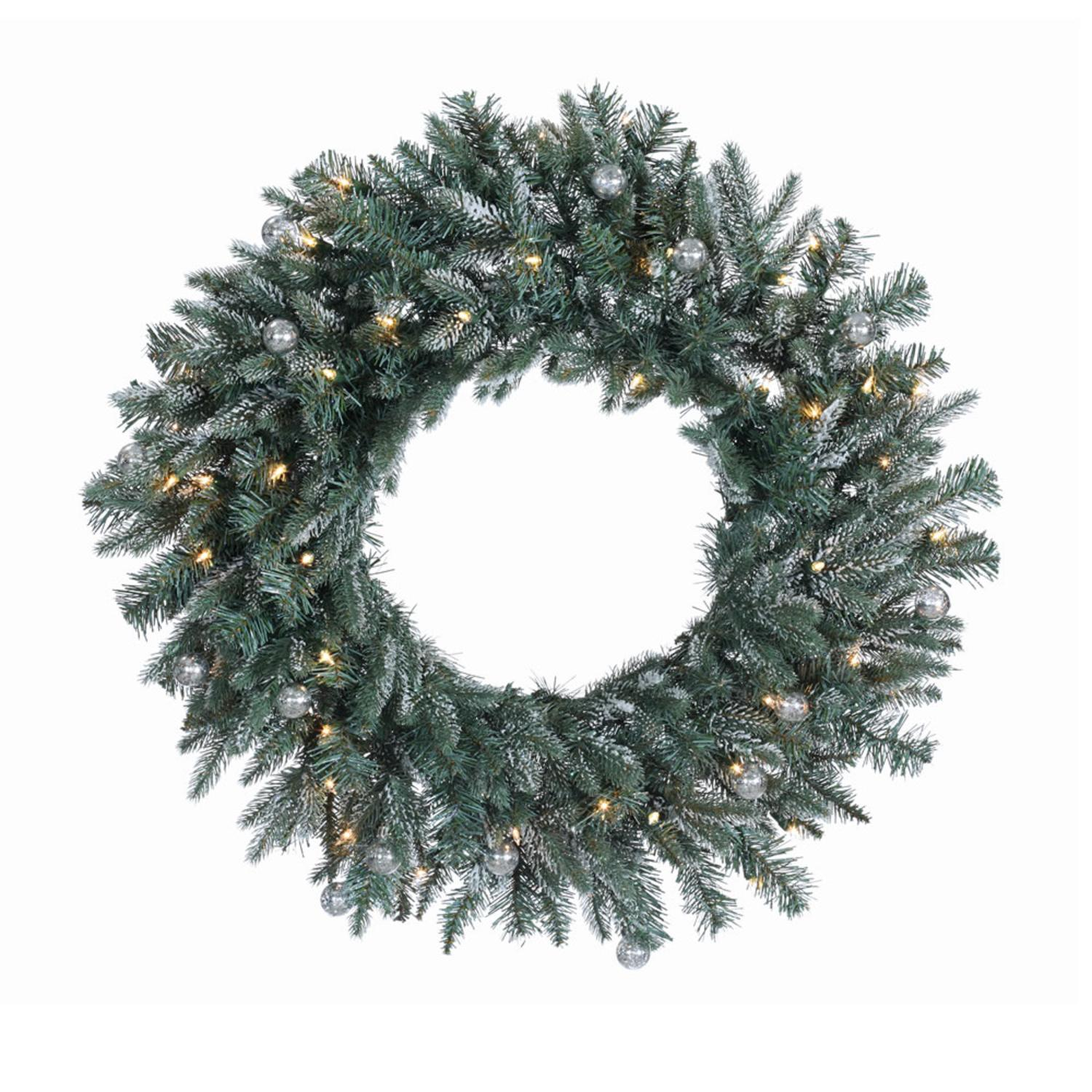 "36"" Pre-Lit Frosted Crystal Balsam Fir Artificial Christmas Wreath - Clear Dura-Lit Lights"