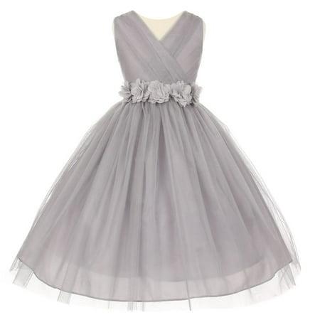 Little Girls Silver Chiffon Floral Sash Shiny Tulle Flower Girl Dress 2](Silver Little Girl Dresses)