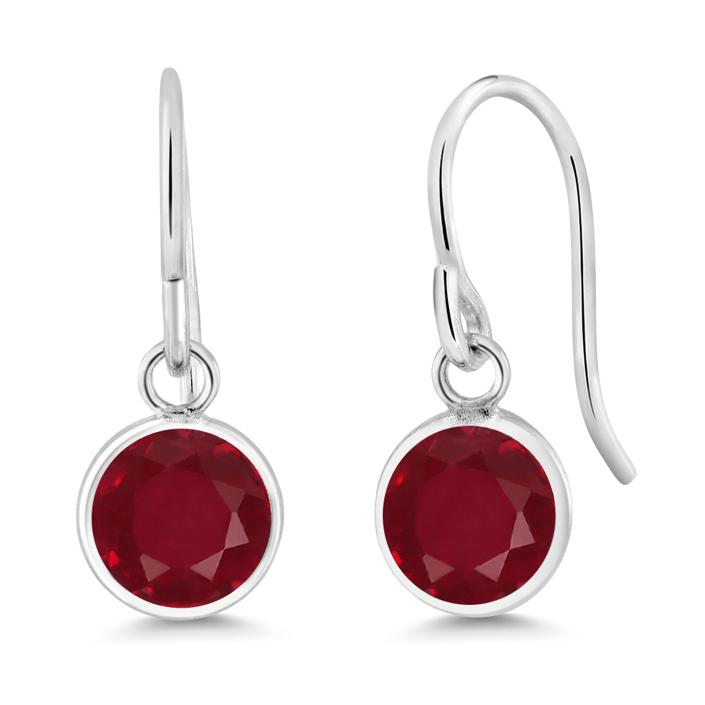 2.10 Ct Round Red Ruby Sterling Silver bezel Earrings 6mm