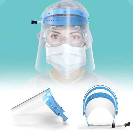 2PCS Safety Face Shield Screen Mask Face Protection Impact Safety Glasses Protective Face Wear, Goggles Fits Over Prescription Glasses Clear Frame, Scratch Resistant Print Protective Shield