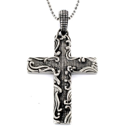 Stainless Steel Antiqued Medieval Cross Pendant Necklace 24
