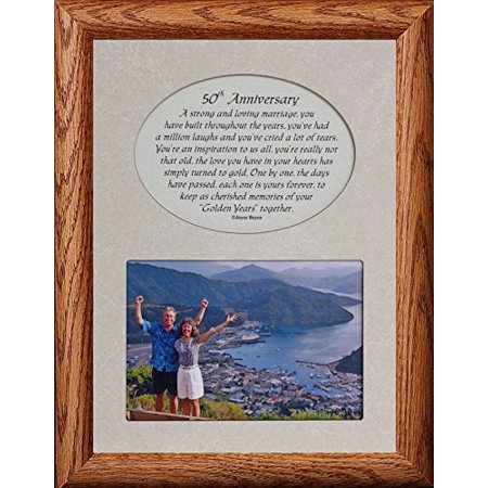 50th Anniversary Picture & Poetry Keepsake Photo Frame (Fruitwood)