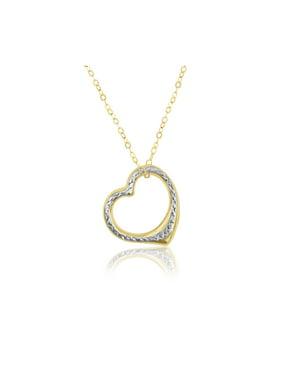 10kt Yellow Gold Diamond Cut Heart Pendant Necklace