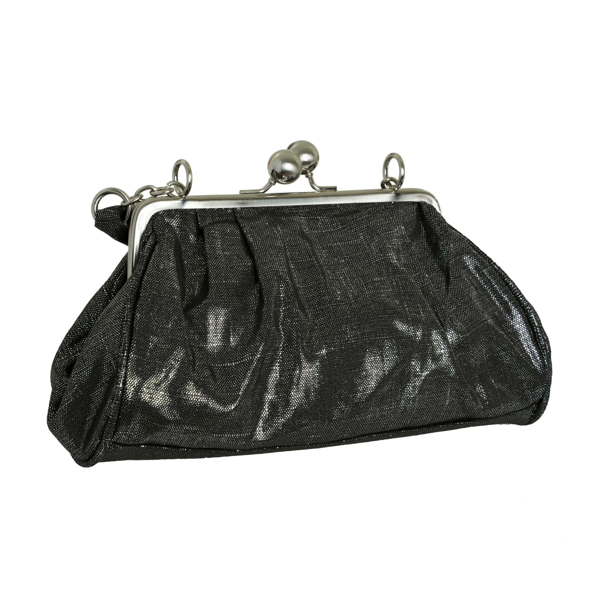 Unlisted by Kenneth Cole Mini Handbag Black with Silver Metallic Linen