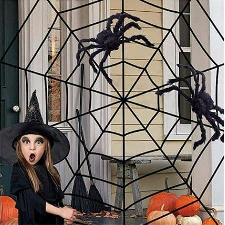 Halloween Yard Decorations Crafts (Halloween Giant Spider Web, 5/11/12/17 feet Spider Web for Indoor Halloween Decor Decoration Outdoor)