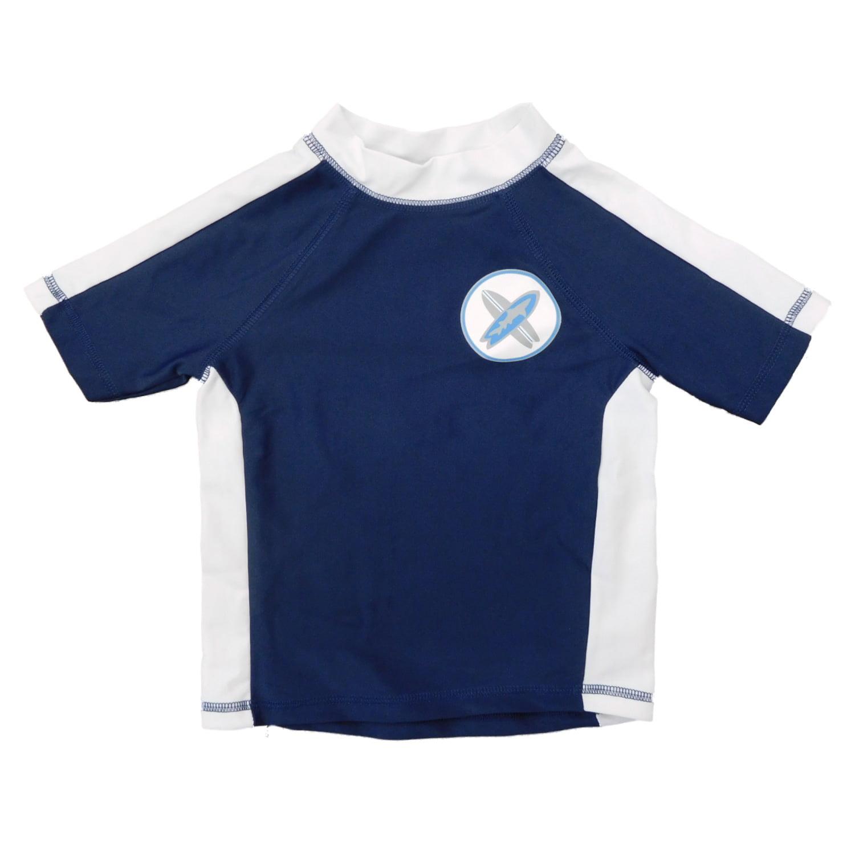 Infant & Toddler Boys Navy Blue/White Surfboard Rash Guard Swim Shirt