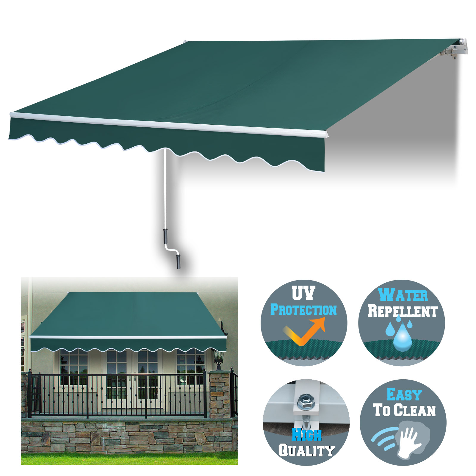 Sunrise 8' x 6.6' Manual Retractable Patio Deck Awning Cover, Sunshade Canopy Only, (Blue with White)