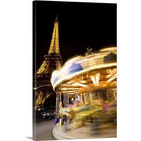 Great BIG Canvas Scott Stulberg Premium Thick-Wrap Canvas entitled Carousel at night by the Eiffel Tower, Paris, France